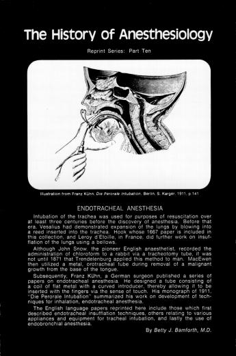 The History of Anesthesiology Reprint Series: Part 10 – Endotracheal Anesthesia.