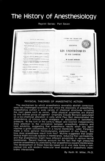 The History of Anesthesiology Reprint Series: Part  7 – Physical Theories of Anaesthetic Action.