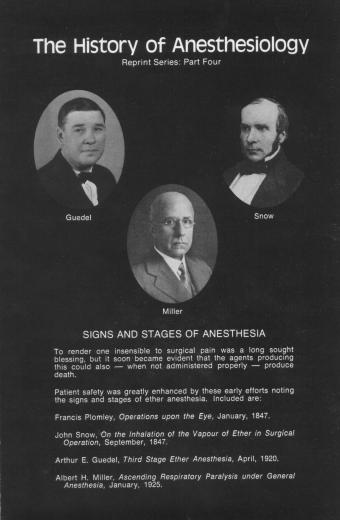 The History of Anesthesiology Reprint Series: Part  4 – Signs and Stages of Anesthesia.