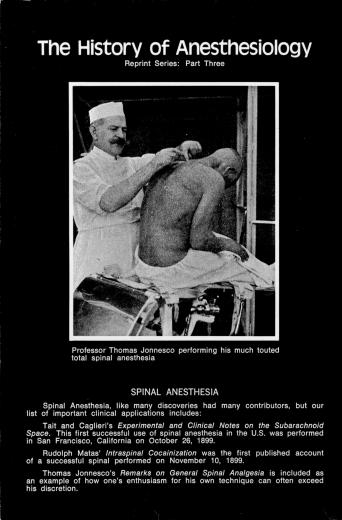 Image of The History of Anesthesiology Reprint Series: Part  3 – Spinal Anesthesia. - 1 of 1