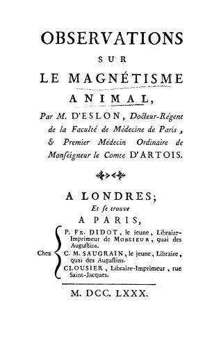 Image of D'Eslon CN. Observations sur le magnétisme animal, 1780. - 1 of 1
