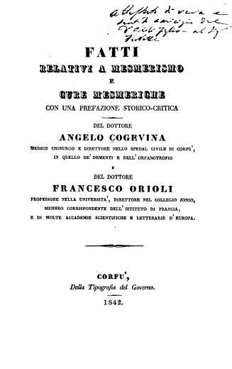 Image of Cogevina A. Fatti relativi a mesmerismo e cure mesmeriche con una prefazione storico-critica, 1842. - 1 of 1