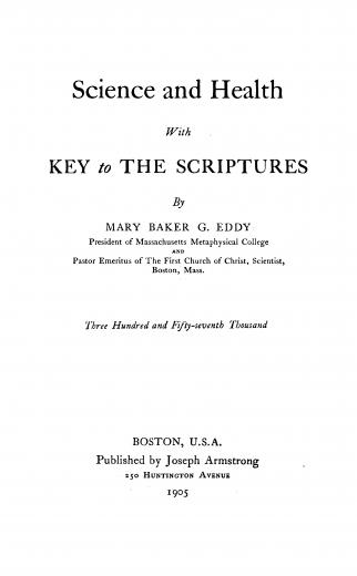 Image of Eddy MBG. Science and health with key to the scriptures, 1905. - 1 of 1