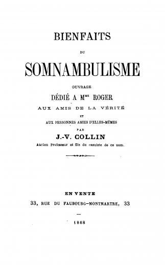 Image of Collin JV. Bienfaits du somnambulisme, 1868. - 1 of 1