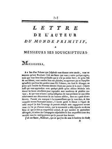 Image of Court de Gébelin A. Lettre de l'auteur du Monde primitif a messieurs ses souscripteurs, 1783. - 1 of 1