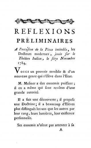 Image of Eprémesnil JJ. Réflexions préliminaires, a l'occasion de la piece intitulée, les Docteurs modernes, jouée sur le Théâtre Italien, le seize Novembre 1784. - 1 of 1