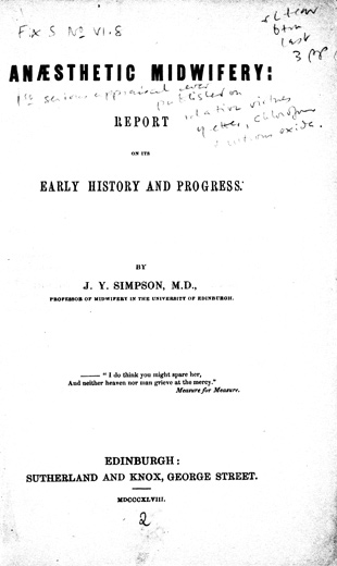 Image of Simpson JY. Anæsthetic midwifery : report on its early history and progress, 1848. - 1 of 1
