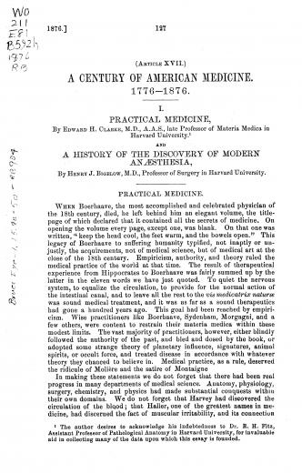 Image of Bigelow HJ. A history of the discovery of modern anæsthesia (A Century of American Medicine, January 1876). - 1 of 1