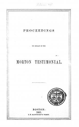 Image of Proceedings on behalf of the Morton testimonial, 1861. - 1 of 1