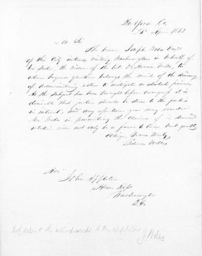 Image of Welles G. [Letter to] Hon. John Appleton of the U.S. House of Representatives, 1852. - 1 of 1