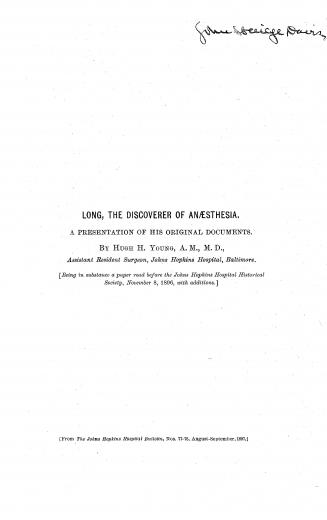 Image of Young HH. Long, the discoverer of anaesthesia : a presentation of his original documents, 1897. - 1 of 1