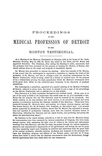 Image of Proceedings of the medical profession of Detroit on the Morton testimonial, 1865. - 1 of 1