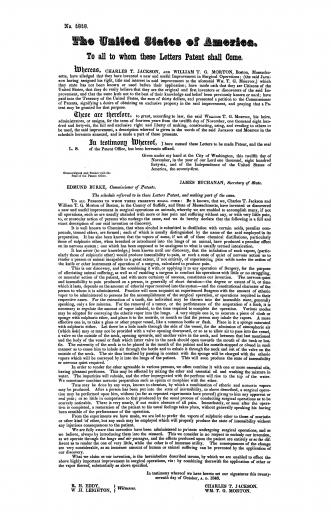 Image of The United States of America : to all to whom these letters patent shall come: whereas Charles T. Jackson and William T. G. Morton, Boston, Massachusetts, have alleged that they have invented a new and useful improvement in surgical operations …, 1846. - 1 of 1