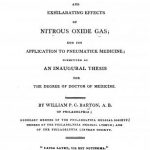 Image of Barton WPC. A dissertation on the chymical properties and exhilarating effects of nitrous oxide gas : and its application to pneumatick medicine, 1808. - 1 of 1