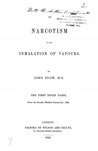 Image of Snow J. On narcotism by the inhalation of vapours: the first seven parts, 1848. - 1 of 1