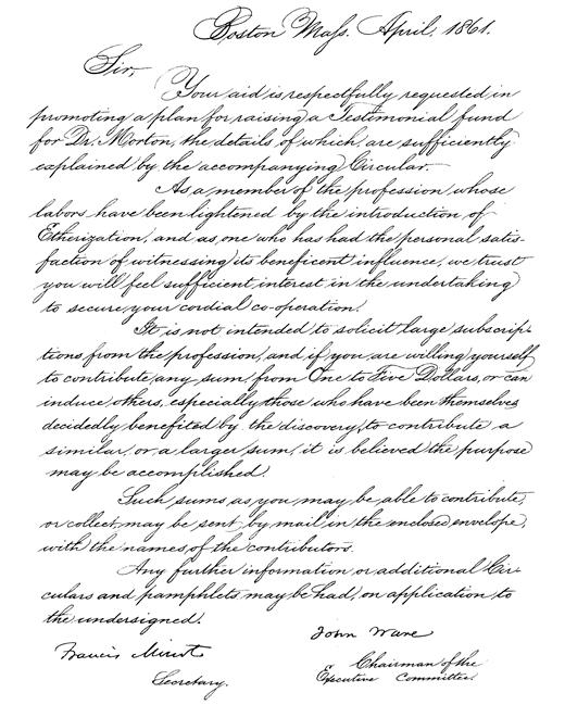 Image of Minot F, Ware J. [William T.G. Morton testimonial fund letter and circular], 1861. - 1 of 1